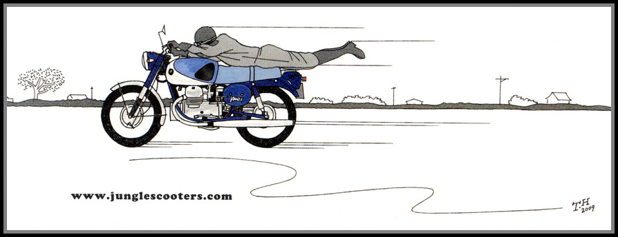Drawing by Takashi Harako for JungleScooters, showing Lilac motorcycle designer Eiji Hayashi riding 250cc Lilac model LS-38 V-twin in prone position, in 1959.