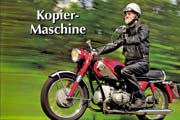 Magazine article Kopier-Maschine in German magazine, about Peter Hanke's restored Marusho motorcycle.